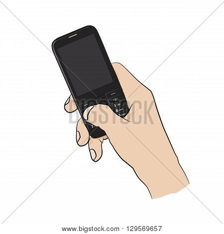Man holding black cellphone in right hand. Mobile phone in male hand. Vector illustration.