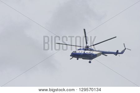 Rostov-on-Don Russia- May 112015: Police helicopter monitoring the situation