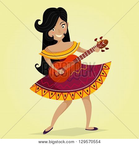 Mexican Fiesta Party Invitation with beautiful Mexican woman dancing and playing the guitar .Vector illustration poster. Design concept for Cinco de Mayo festival flyer, poster or greeting card