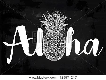 Aloha fashion quote design, summer t-shirt print with ornate pineapple.  Isolated vector illustration.