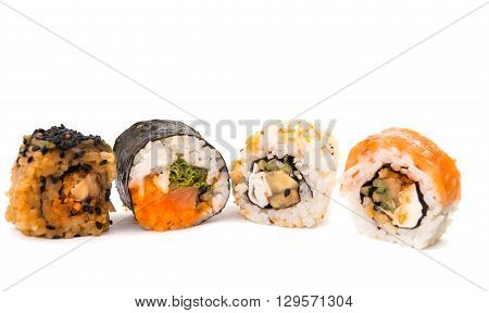 sushi isolated on white background sake, seafood, seaweed,