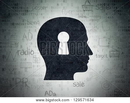 Advertising concept: Painted black Head With Keyhole icon on Digital Data Paper background with Scheme Of Hand Drawn Marketing Icons