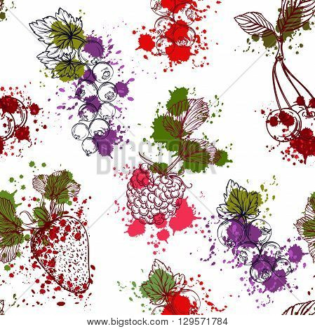 Seamless pattern with collection of fruits and berries in watercolor style. Strawberries, cherries, currants, raspberries. Isolated elements. Vintage colorful hand drawn vector illustration