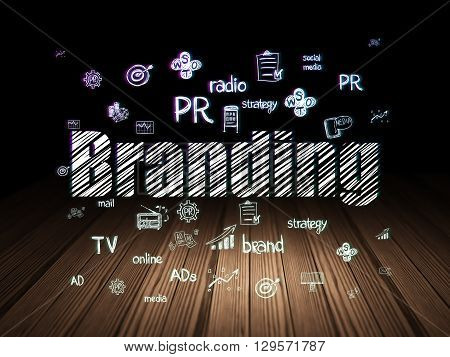 Advertising concept: Glowing text Branding,  Hand Drawn Marketing Icons in grunge dark room with Wooden Floor, black background