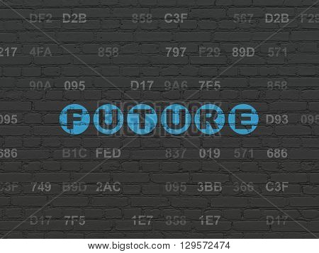 Time concept: Painted blue text Future on Black Brick wall background with Hexadecimal Code