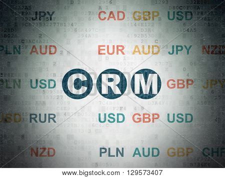 Business concept: Painted blue text CRM on Digital Data Paper background with Currency