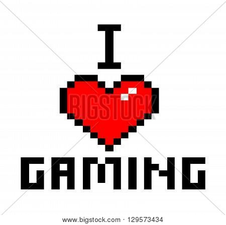 I Love Gaming, a 8-bit style font vector illustration.