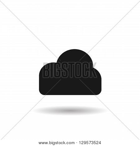 cloud information weather black web icon illustration for mobile app color picture on a white background and shadow