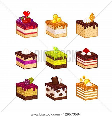 Set with different  fruit cake slices. Different taste and color. Pieces of cake. Vector illustration. Isometry.