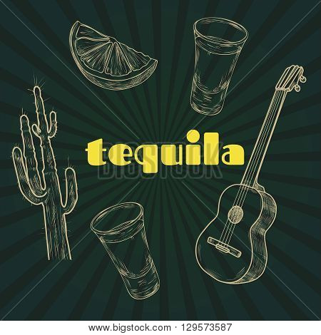 Tequila party. Vintage engraving illustration for label poster invitation to a party. Hand drawn design element on black background. Vector illustration