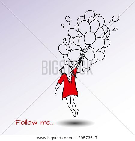 Follow me hand drown vector illustration with girl and balloons