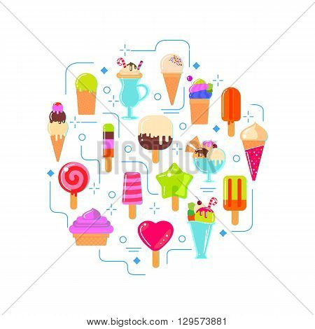 Ice cream circle illustration for fun. Flat icons of ice cream and fruite ice. Vector background design.