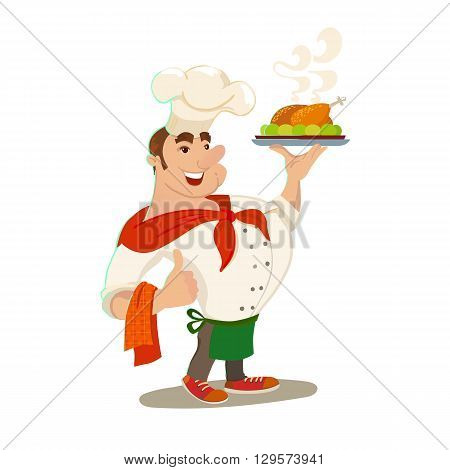 Chief cook. Waiter man with baked chicken dish. Cartoon cook with smile. Vector character.