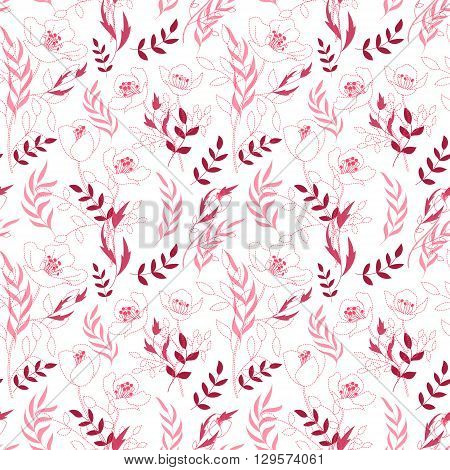 Vintage floral seamless pattern with flowers drawn by a dotted line and hand drawing leaf. Dashed line floral vector background. Bright pink on white.
