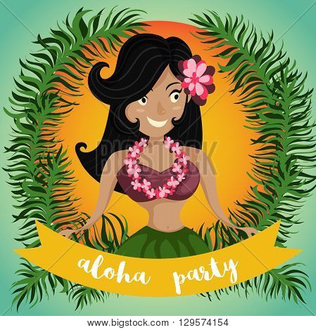 Hawaiian Aloha Party Invitation with Hawaiian hula dancing girl, palm leaves and ribbon. Cartoon vector illustration. Design concept for flyer, poster or greeting card