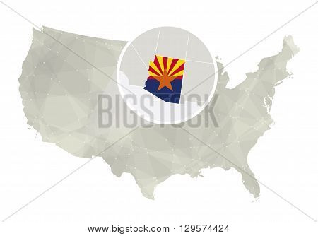 Polygonal Abstract Usa Map With Magnified Arizona State.