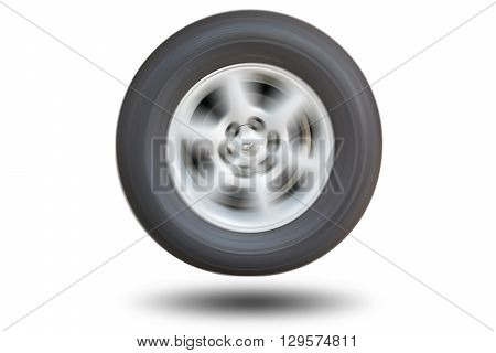 Show spinning tires racing isolated on white background.