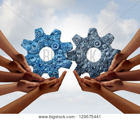 Corporate teamwork and business global cooperation concept as two groups of diverse people joining together holding a giant gear made of smaller gears and cog wheels with 3D illustration elements.