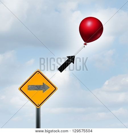 Concept of consulting and supportive marketing idea as a balloon lifting up an arrow from a sign as a success metaphor and higher prosperity strategy with 3D illustration elements.