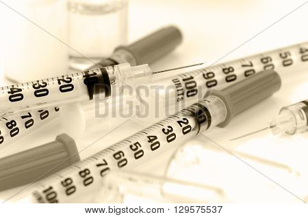 Insulin Syringe With 29G. Needle On White Background.
