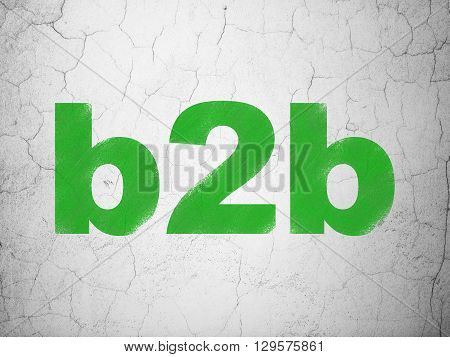 Finance concept: Green B2b on textured concrete wall background