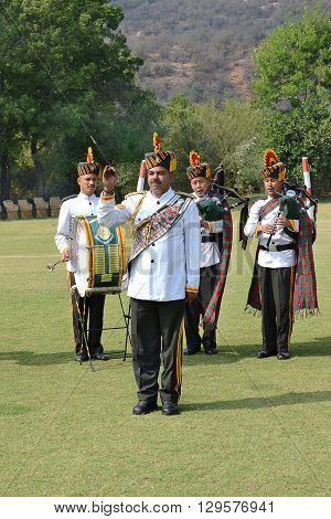 JAIPUR INDIA - NOVEMBER 13 2015: Band on the Green. At Dera Amer Elephant Safari a military band performs for visitors.