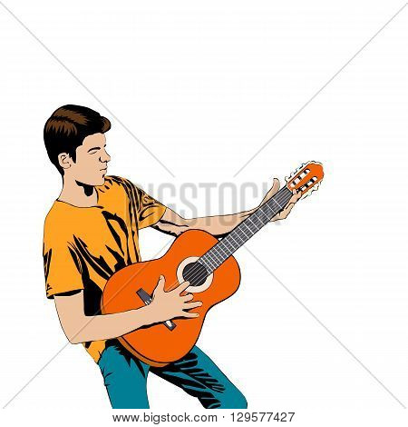 Young man playing the guitar . Man with acoustic guitar pop art comic style. Vector illustration guitarist isolated on white background