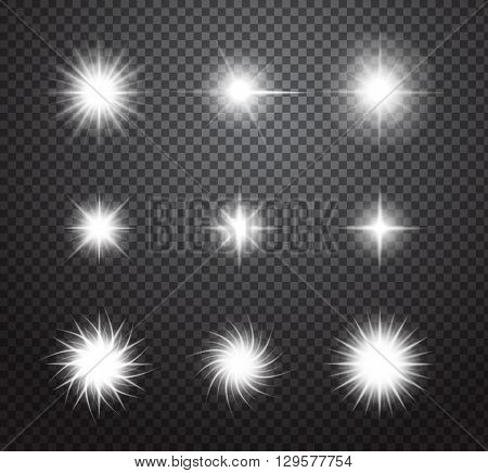 Set of glowing lights effects on transparent background. Special effects with transparency. Glowing lights, lens flares, rays, stars, sparkles and bokeh collection. Vector illustration