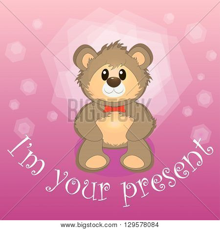 vector illustration with a teddy bear on a pink background