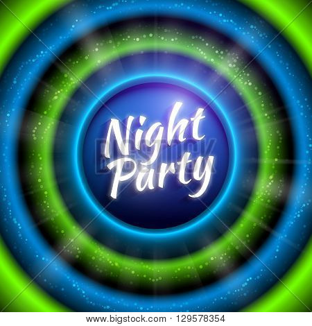 Premium flyer template for club night party. Colorful abstract background with defocused waved lights and rays. Blue and green colored circles with glittering. Vector illustration