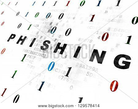 Privacy concept: Pixelated black text Phishing on Digital wall background with Binary Code