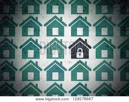 Protection concept: rows of Painted blue home icons around black home icon on Digital Data Paper background