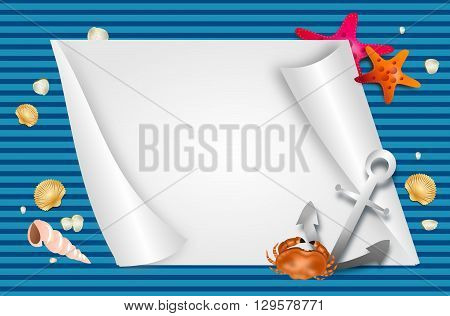 Illustration of nautical background with blank paper sheet and sea decoration