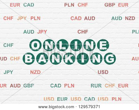 Currency concept: Painted green text Online Banking on White Brick wall background with Currency