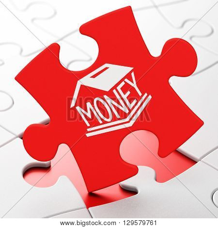 Banking concept: Money Box on Red puzzle pieces background, 3D rendering