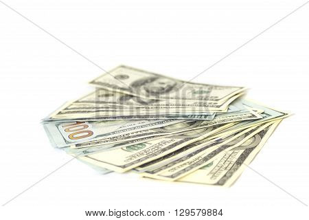 Money and luxury concept  : stack of american hundred dollar bills isolated on white