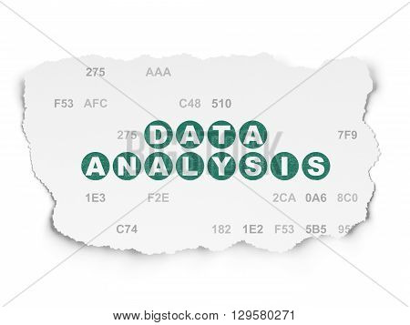 Information concept: Painted green text Data Analysis on Torn Paper background with  Hexadecimal Code
