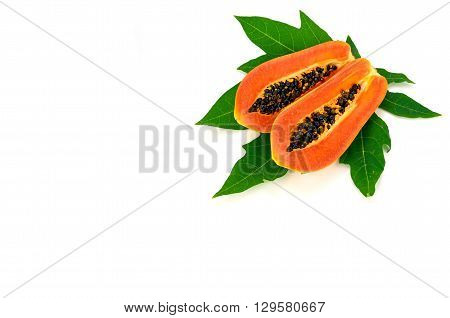 Ripe Papaya (carica Papaya L) With Leaves Isolated With Clipping Path.