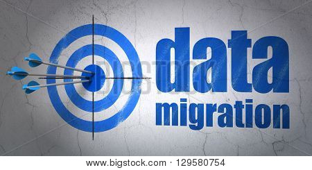Success Data concept: arrows hitting the center of target, Blue Data Migration on wall background, 3D rendering