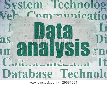 Data concept: Painted green text Data Analysis on Digital Data Paper background with   Tag Cloud