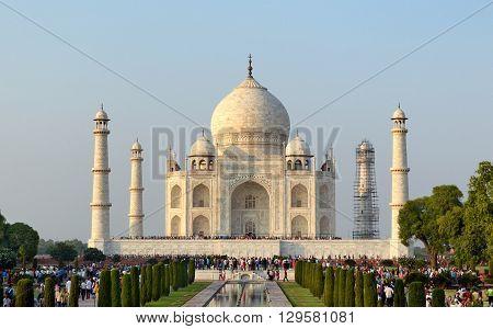AGRA INDIA - 31 OCTOBER 2015: Tourists at the Taj Mahal.