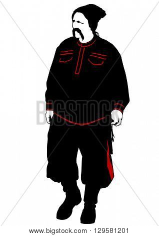 Cossack in an old military uniform on a white background