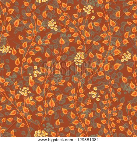 Seamless decorative template texture with orange gray leaves and yellow berries on brown background. Seamless stylized leaf pattern.