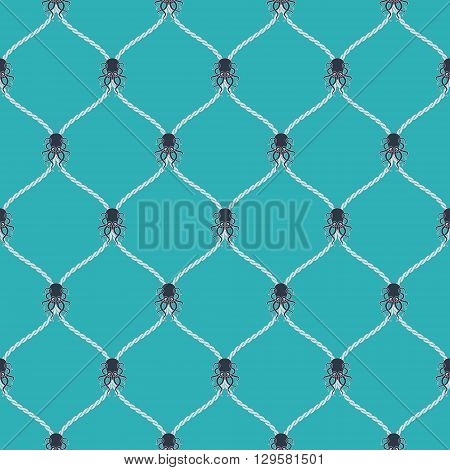 Nautical rope and dark Kraken seamless fishnet pattern on blue background