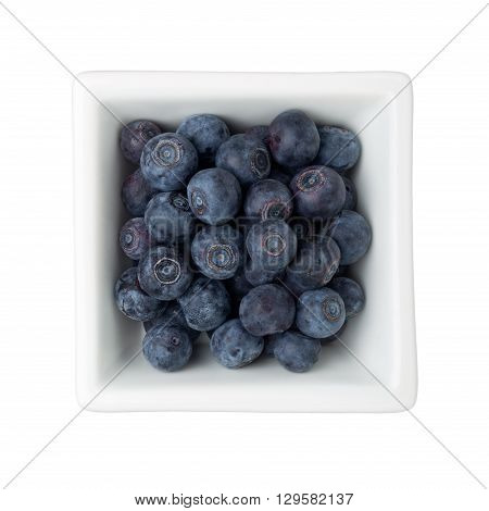Blueberries in a square bowl isolated on white background