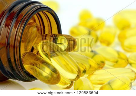 Yellow Soft Gelatin Capsule.
