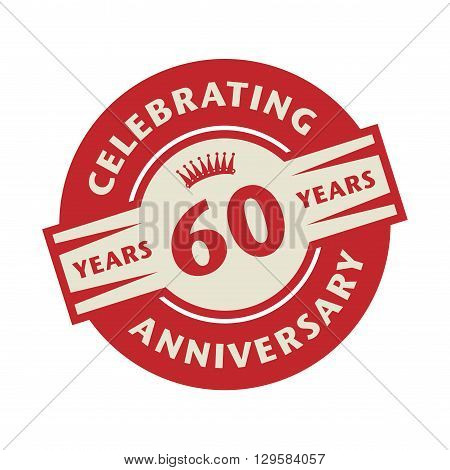 Stamp or label with the text Celebrating 60 years anniversary, vector illustration
