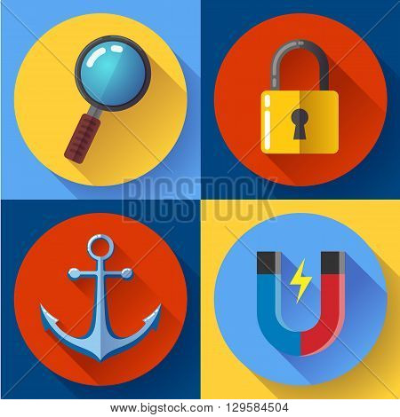 Internet marketing icons set. Flat design style