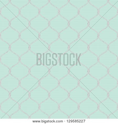 Nautical rope seamless tied fishnet pattern on light blue background