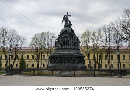 The Monument Millennium Of Russia With  St. Sophia Cathedral At Background. Veliky Novgorod, Russia
